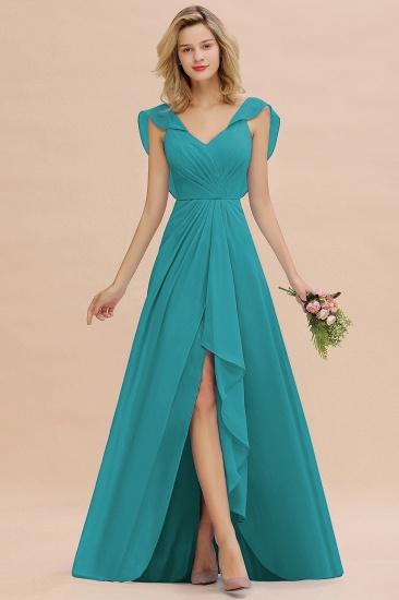 Modest Hi-Lo V-Neck Ruffle Long Bridesmaid Dress with Slit_32