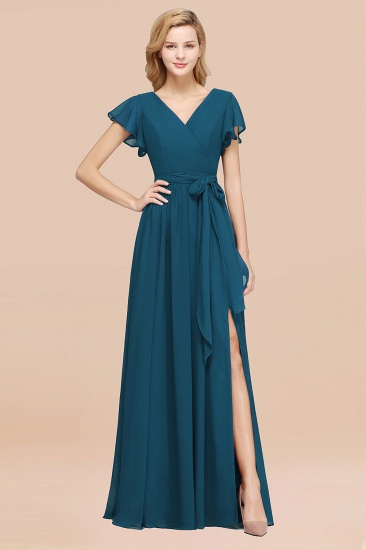 Burgundy V-Neck Long Bridesmaid Dress With Short-Sleeves_27