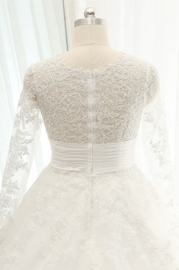 BMbridal Chic Longsleeves Jewel A line Wedding Dresses White A line Tulle Bridal Gowns With Appliques Online_6