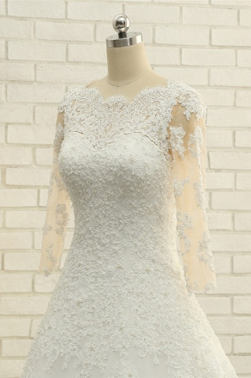 BMbridal Elegant A-Line Jewel White Tulle Lace Wedding Dress 3/4 Sleeves Appliques Bridal Gowns with Pearls_5