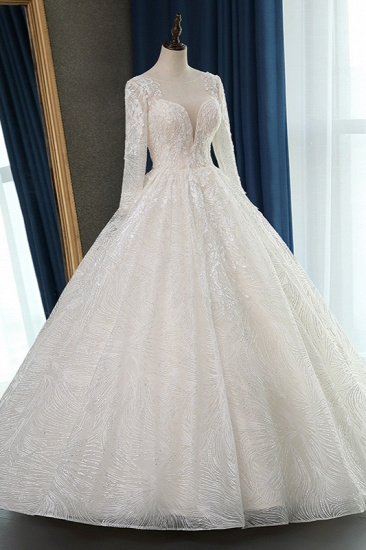BMbridal Glamorous Ball Gown Jewel Appliques Wedding Dress Long Sleeves Bridal Gowns Online_5
