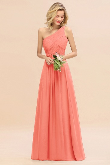 Chic One Shoulder Ruffle Grape Chiffon Bridesmaid Dresses Online_45
