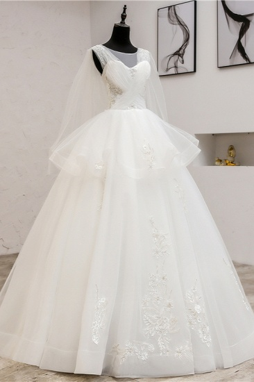 Gorgeous Jewel Sleeveless White Wedding Dress Tulle Appliques Bridal Gowns Online_4
