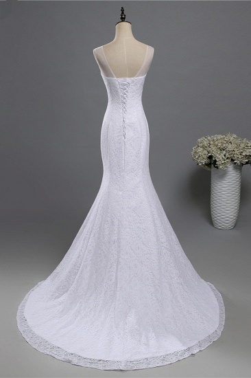 Affordable Jewel Lace Sequins Mermaid Wedding Dress Sleeveless Appliques Bridal Gowns with Crystals_3