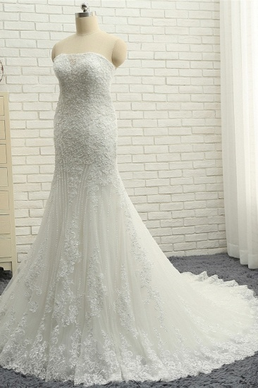 BMbridal Elegant Bateau White Mermaid Wedding Dresses With Appliques Ruffles Lace Bridal Gowns On Sale_4