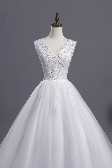 BMbridal Glamorous V-Neck Sequins White Tulle Wedding Dress Sleevels Lace Appliques Bridal Gowns On Sale_5