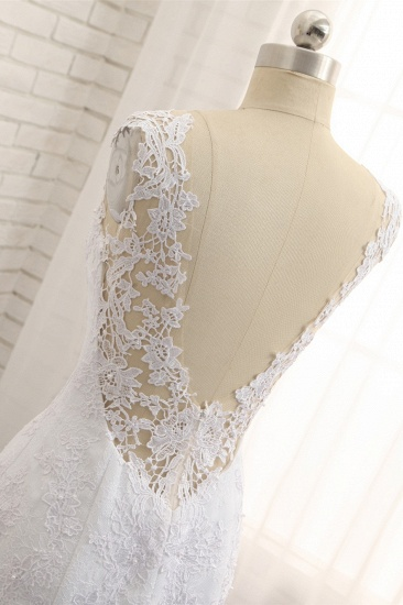 Stunning Jewel White Tulle Lace Wedding Dress Appliques Sleeveless Bridal Gowns On Sale_6