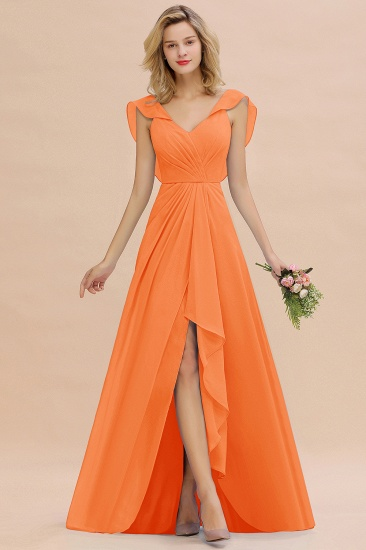 Modest Hi-Lo V-Neck Ruffle Long Bridesmaid Dress with Slit_15