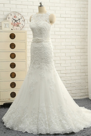 BMbridal Stylish Jewel Sleeveless Mermaid Wedding Dresses White Lace Bridal Gowns With Appliques On Sale_4