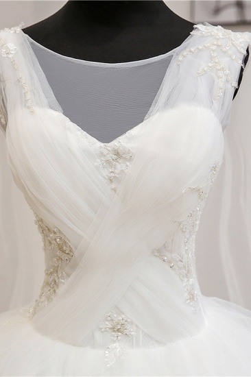Gorgeous Jewel Sleeveless White Wedding Dress Tulle Appliques Bridal Gowns Online_7