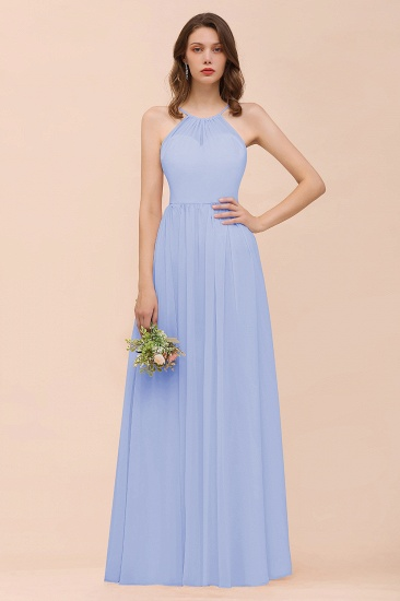 BMbridal Gorgeous Chiffon Halter Ruffle Affordable Long Bridesmaid Dress_22