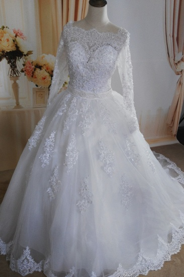 Gorgeous Tulle Lace White Wedding Dress Long Sleeves Appliques Bridal Gowns with Pearls
