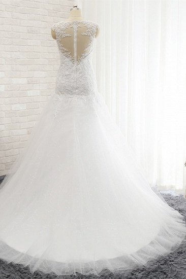 Modest Sleeveless Jewel Wedding Dresses With Appliques White Mermaid Bridal Gowns On Sale_3