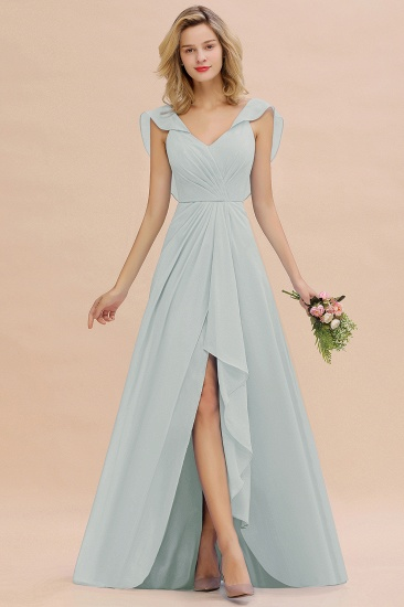 BMbridal Modest Hi-Lo V-Neck Ruffle Long Bridesmaid Dress with Slit_38