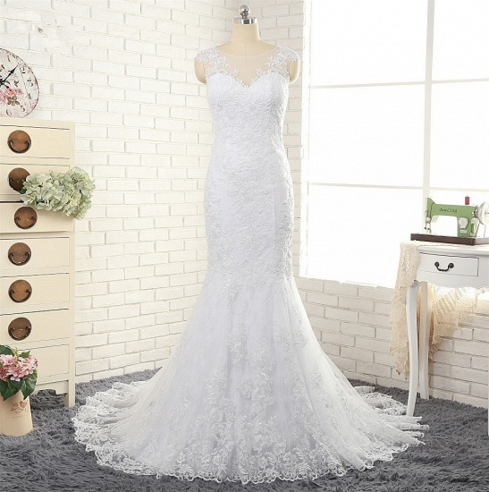 BMbridal Gorgeous White Mermaid Lace Wedding Dresses With Appliques Jewel Sleeveless Bridal Gowns Online_7