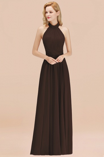 Gorgeous High-Neck Halter Backless Bridesmaid Dress Dusty Rose Chiffon Maid of Honor Dress_11
