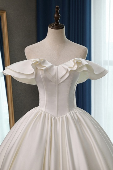 BMbridal Stylish Strapless Sweetheart Satin Wedding Dress Ruffles Sleeveless Ball Gowns Bridal Gowns On Sale_5