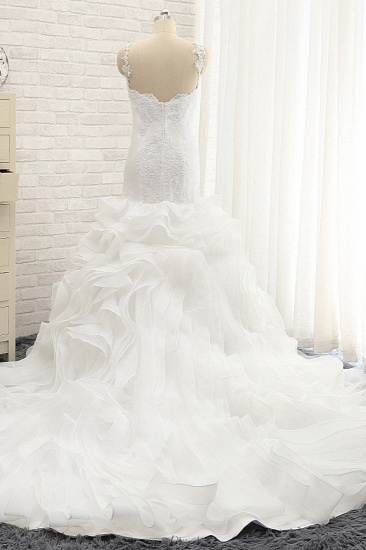 BMbridal Sexy Sleeveless Straps Ruffles Wedding Dresses With Appliques White Mermaid Satin Bridal Gowns Online_3