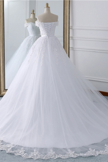 BMbridal Affordable White Off-the-shoulder Lace Wedding Dresses With Appliques Tulle Ruffles Bridal Gowns On Sale_3