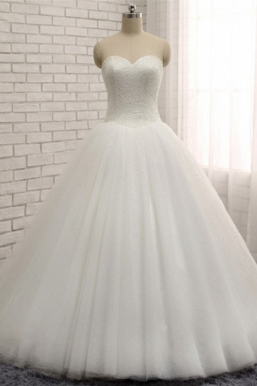 BMbridal Chic Sweetheart Pearls White Wedding Dresses A-line Tulle Ruffles Bridal Gowns Online_1