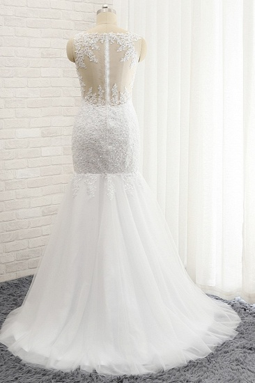 BMbridal Glamorous Strapless Sweetheart Lace Mermaid Wedding Dress White Tulle Appliques Bridal Gowns Online_3