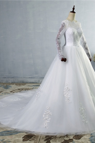 BMbridal Elegant Jewel Tulle Lace Wedding Dress Long Sleeves Appliques Sequins Bridal Gowns On Sale_4