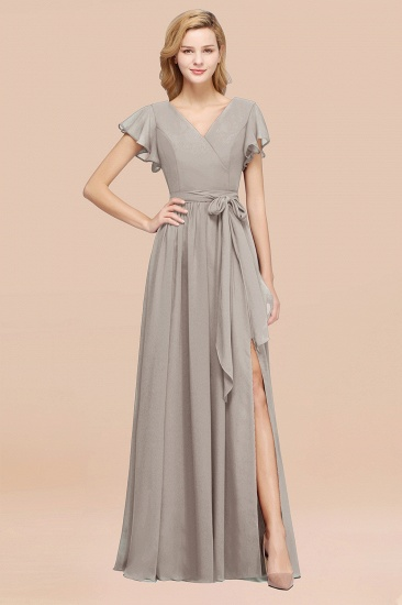 BMbridal Burgundy V-Neck Long Bridesmaid Dress With Short-Sleeves_30