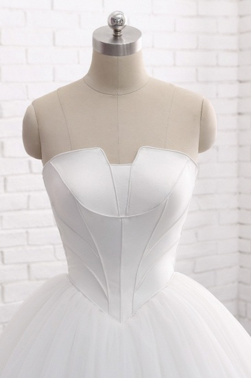 BMbridal Chic Ball Gown Strapless White Tulle Wedding Dress Sleeveless Bridal Gowns On Sale_5