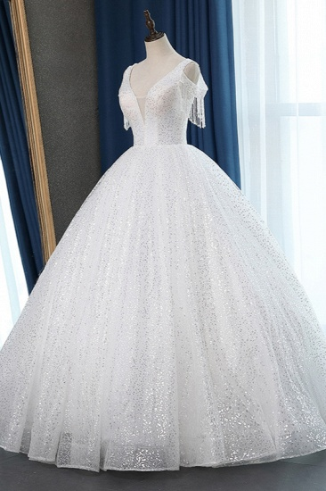 Sparkly Sequins White Tulle Ball Gown Wedding Dress Cold-Shoulder V-Neck Bridal Gowns with Tassels On Sale_1