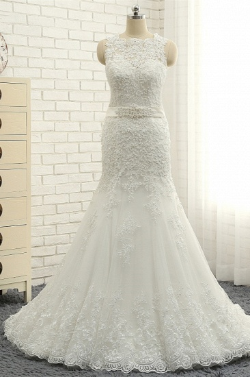 BMbridal Stylish Jewel Sleeveless Mermaid Wedding Dresses White Lace Bridal Gowns With Appliques On Sale_1