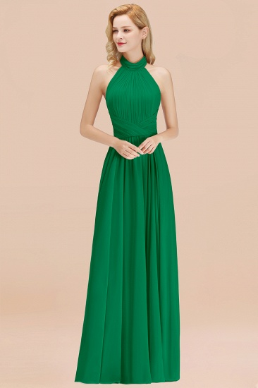 BMbridal Gorgeous High-Neck Halter Backless Bridesmaid Dress Dusty Rose Chiffon Maid of Honor Dress_49