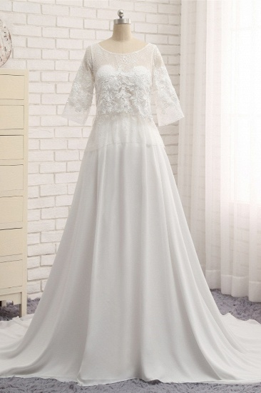 Modest Halfsleeves White Jewel Wedding Dresses Chiffon Lace Bridal Gowns With Appliques On Sale_1
