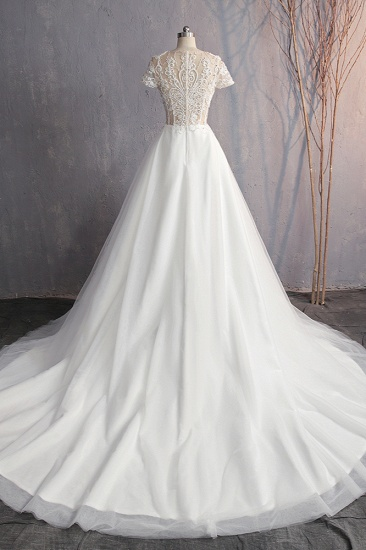 Affordable V-Neck White Tulle Wedding Dress Short Sleeves Lace Appliques Bridal Gowns with Beadings_3