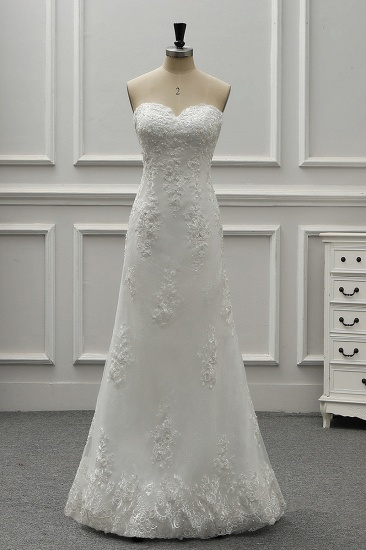 BMbridal Stylish Strapless Sweetheart Tulle White Wedding Dress Appliqes Sleeveless A-Line Bridal Gowns On Sale_5