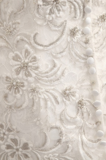 BMbridal Elegant White Sleeveless Jewel Wedding Dresses With Appliques Mermaid Lace Bridal Gowns Online_6
