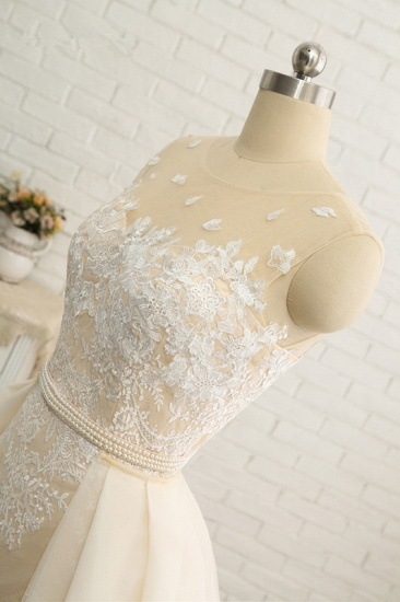 Glamorous Jewel Tulle Champagne Wedding Dress Appliques Sleeveless Overskirt Bridal Gowns with Beading Sash Online_8