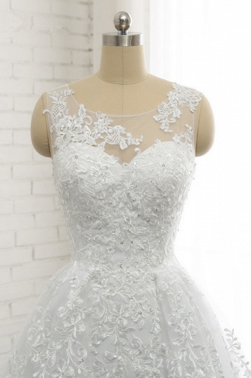 Chic A-Line Jewel Tulle Lace Wedding Dress Sleeveless Appliques Bridal Gowns with Beadings Online_5