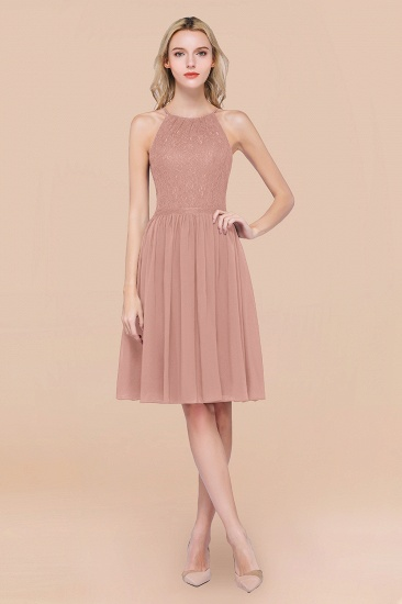 Lovely Burgundy Lace Short Bridesmaid Dress With Spaghetti-Straps_6