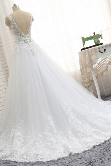 Stunning Straps V-Neck Tulle Appliques Wedding Dress Lace Sleeveless Bridal Gowns with Beadings Online_3