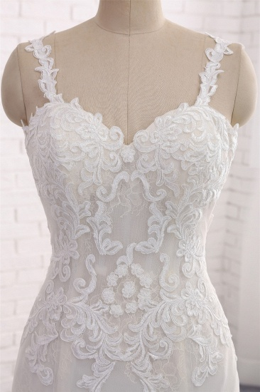Affordable Strapless Mermaid Tulle Lace Wedding Dress Sweetheart Appliques Bridal Gowns On Sale_5