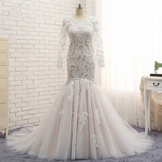 BMbridal Elegant Longsleeves Jewel Mermaid Wedding Dresses Champagne Tulle Bridal Gowns With Appliques On Sale_6