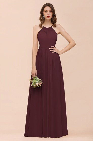 BMbridal Gorgeous Chiffon Halter Ruffle Affordable Long Bridesmaid Dress_47