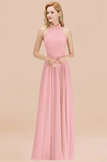 BMbridal Gorgeous High-Neck Halter Backless Bridesmaid Dress Dusty Rose Chiffon Maid of Honor Dress_4