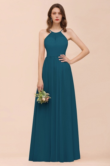 BMbridal Gorgeous Chiffon Halter Ruffle Affordable Long Bridesmaid Dress_27