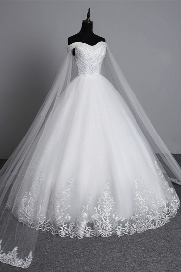 BMbridal Glamorous Strapless Sweetheart Tulle Wedding Dress Sleeveless Appliques Bridal Gowns with Rhinestones On Sale_4