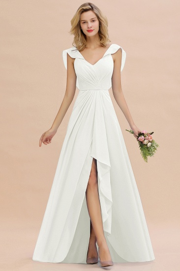 BMbridal Modest Hi-Lo V-Neck Ruffle Long Bridesmaid Dress with Slit_2