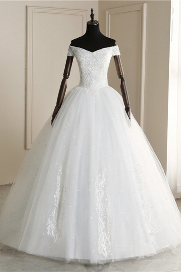 BMbridal Affordable Off-the Shoulder Sweetheart Tulle Wedding Dress Appliques Sleeveless Bridal Gowns with Pearls_2