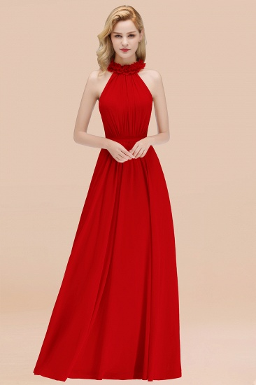 Modest High-Neck Halter Ruffle Chiffon Bridesmaid Dresses Affordable_8