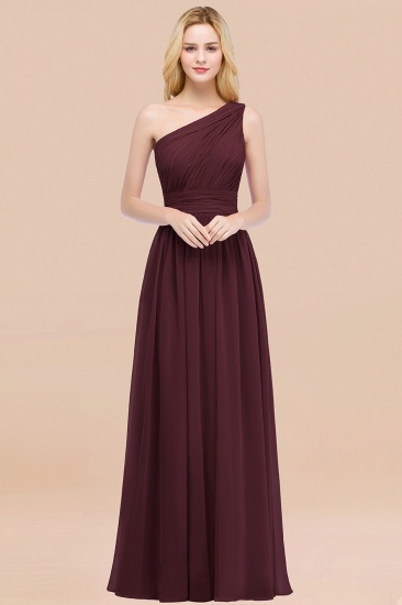 Chic One-shoulder Sleeveless Burgundy Chiffon Bridesmaid Dresses Online_47