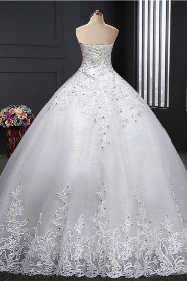BMbridal Affordable Strapless Sweetheart Ball Gown Wedding Dress Appliques Sleeveless Bridal Gowns with Beadings_3